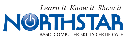 A logo for Northstar Basic Computer Skills Certificate. A slogan above reads,
